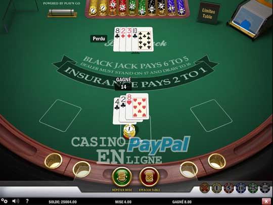 Blackjack à un seul jeu